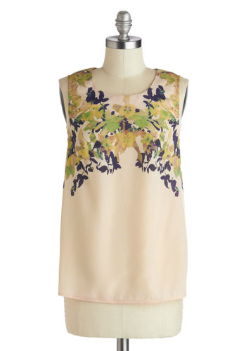 Farewell and Good Top - Chiffon, Sheer, Mid-length, Cream, Green, Floral, Work, International Designer, Blue, Multi, Daytime Party, Sleeveless, Spring, Scoop, White, Sleeveless