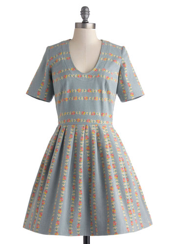 Lauren Moffatt Scenic and Heard Dress by Lauren Moffatt - Exclusives, Mid-length, Cotton, Denim, Blue, Floral, Pleats, Pockets, Casual, Fit & Flare, Short Sleeves, Scoop, Daytime Party, Spring