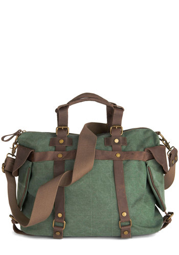 In the Event of Adventure Bag - Green, Solid, Studs, Trim, Casual, Scholastic/Collegiate, Leather, Brown, Work