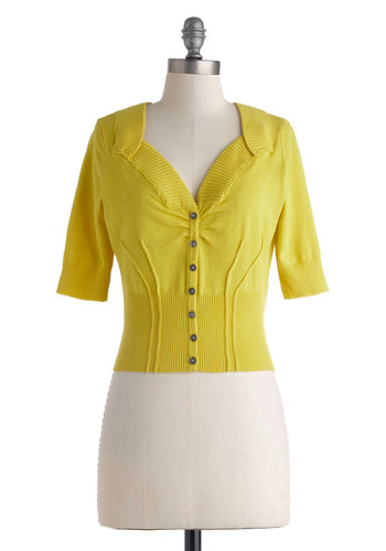 Taking Stockholm Cardigan - Short, Yellow, Solid, Buttons, Work, Vintage Inspired, 3/4 Sleeve, Scholastic/Collegiate, Cropped