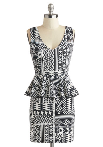 Conga Line Leader Dress - Short, Black, White, Print, Girls Night Out, Peplum, V Neck, Party, Vintage Inspired, 80s, Bodycon / Bandage, Sleeveless, Statement