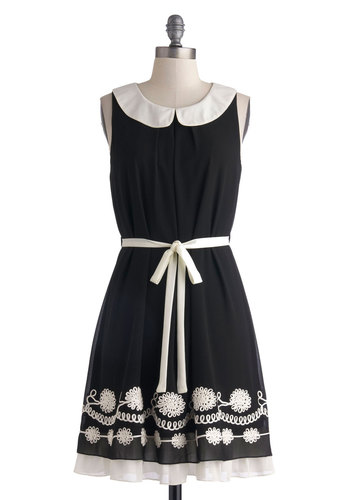 Traveling Chorus Dress - Mid-length, Black, White, Peter Pan Collar, Belted, Casual, A-line, Sleeveless, Collared