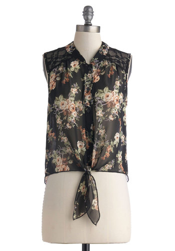 Everlasting Evening Top - Black, Green, Tan / Cream, White, Floral, Buttons, Sleeveless, Collared, Chiffon, Sheer, Short, Casual, Button Down, Summer, Black, Sleeveless