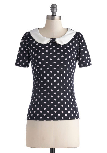 Stop and Say High Seas Top - Blue, White, Polka Dots, Work, Pinup, Vintage Inspired, Short Sleeves, Mid-length, Peter Pan Collar, Casual, Blue, Short Sleeve
