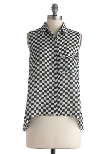Checker Out Top - Mid-length, Black, White, Checkered / Gingham, Buttons, Pockets, Casual, Sleeveless, Collared, Mod, Button Down, Sheer, Sleeveless, Black