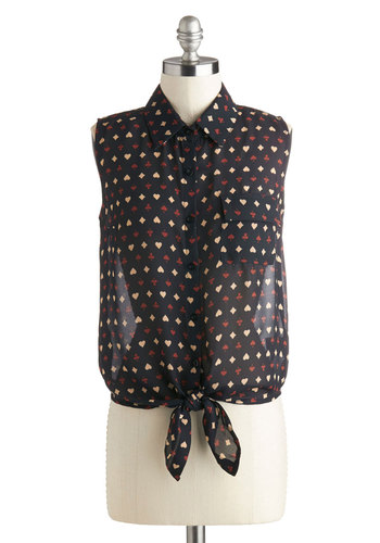 Let's Follow Suit Top - Short, Black, Red, Tan / Cream, Novelty Print, Buttons, Pockets, Sleeveless, Collared, Sheer, Black, Sleeveless