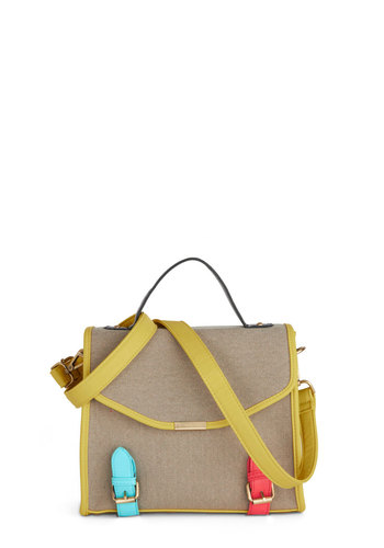 Cute as a Buckle Bag - Tan, Yellow, Blue, Coral, Solid, Buckles, Trim, Neon, Colorblocking, Scholastic/Collegiate