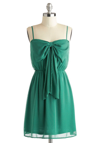 Save Your Spot Dress - Chiffon, Short, Green, Red, Polka Dots, Bows, Party, A-line, Spaghetti Straps, Sweetheart, Daytime Party, Summer