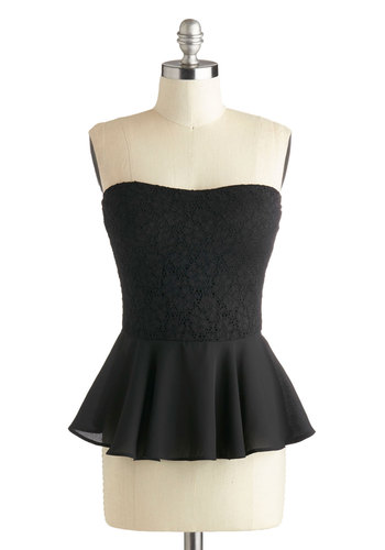 City Pretty Top - Short, Black, Solid, Crochet, Party, Girls Night Out, Peplum, Strapless, Sweetheart, Black, Strapless, Holiday Party