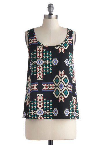 Denver and a Movie Top - Mid-length, Black, Green, Purple, Print, Casual, Tan / Cream, Tank top (2 thick straps), Summer, Scoop, Folk Art