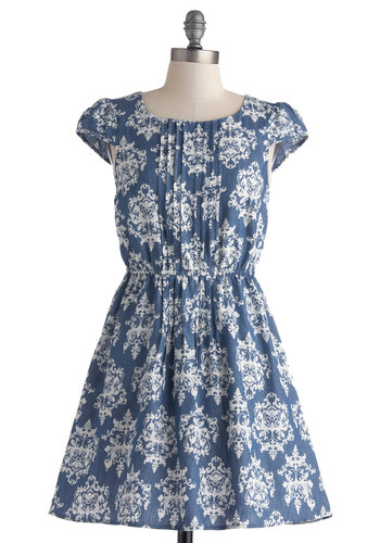 Charming Chambray Dress - Denim, Mid-length, Blue, White, Print, Casual, A-line, Cap Sleeves, Pleats, Scoop