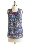 Cool, Palm, and Collected Top - Mid-length, Blue, Red, Green, Print, Sleeveless, Casual, Beach/Resort, Summer, Scoop
