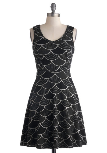 Pattern Peeks Dress - Mid-length, Black, Grey, White, Print, Casual, A-line, Tank top (2 thick straps), Scoop, 20s