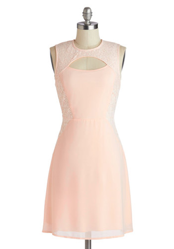 In with the New Haven Dress - Pastel, Mid-length, Pink, Solid, Cutout, Lace, Party, Sheath / Shift, Sleeveless, Crew, Daytime Party