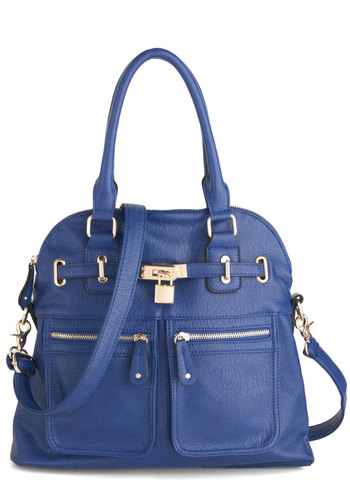 Girl with Curves Bag in Cobalt - Blue, Solid, Buckles, Exposed zipper, Pockets, Work, Casual, Urban, Tis the Season Sale, Faux Leather