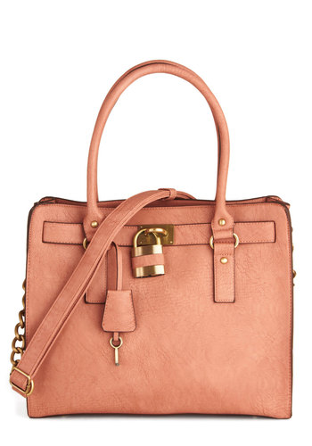 "Full Course Load Bag in Rose - 15"" by Melie Bianco - Pink, Gold, Solid, Casual, Work, Pastel, Variation, Faux Leather, Basic, Exclusives"