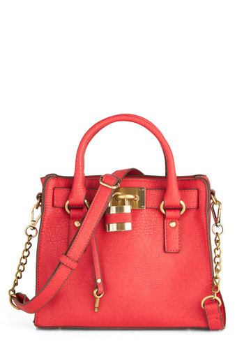 "Full Course Load Bag in Red - 9.5"" by Melie Bianco - Red, Solid, Casual, Gold, Chain, Faux Leather, Basic, Exclusives, Variation, Work"