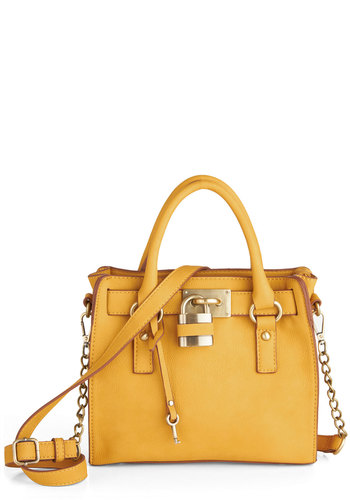 "Full Course Load Bag in Yellow - 9.5"" by Melie Bianco - Yellow, Gold, Solid, Chain, Studs, Casual, Work, Variation, Summer, Basic, Exclusives"