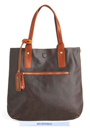 Role Reversal Bag in Mocha and Teal - Brown, Solid, Faux Leather, Blue, Work, Variation, Beach/Resort