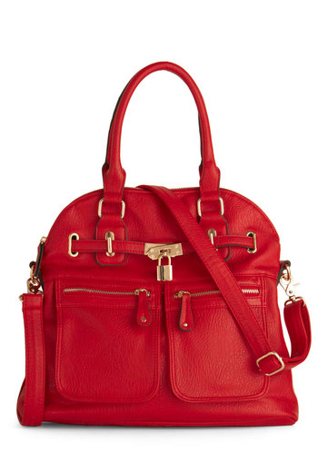 Girl With Curves Bag in Red - Red, Buckles, Exposed zipper, Pockets, Luxe, Solid, Work