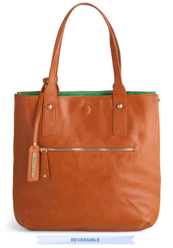 Role Reversal Bag in Cognac and Green - Green, Brown, Solid, Faux Leather, Variation, Work, Top Rated