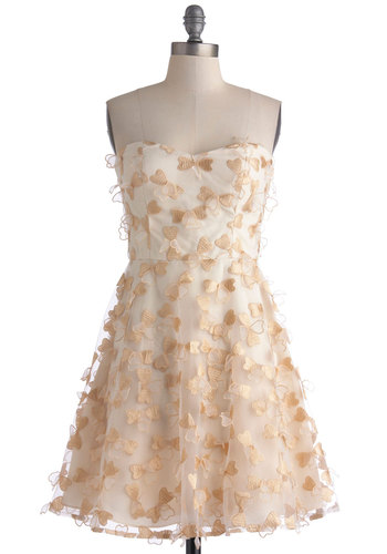 Lucky Charmer Dress - Wedding, Cream, Gold, Cocktail, Bride, Fit & Flare, Strapless, Sweetheart, Mid-length, Woven, Prom, Valentine's, Top Rated