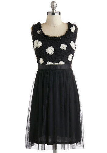 Cuteness in the Clouds Dress - Black, White, Party, Empire, Tank top (2 thick straps), Scoop, Flower, Ruffles, Better, Mid-length, Sheer, Knit, Tulle
