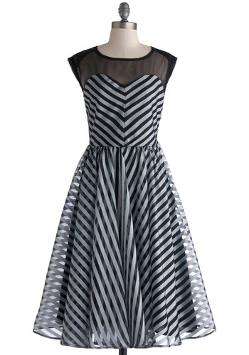 On the Moonlit Lake Dress - Black, Stripes, Party, Sleeveless, Crew, Fit & Flare, Grey, Long, Sheer, Woven, Sweetheart