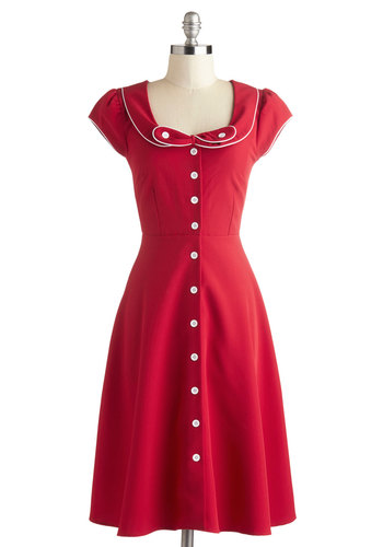 Phone Booth Belle Dress by Myrtlewood - Red, White, Bows, Buttons, Casual, Vintage Inspired, Shirt Dress, Cap Sleeves, Collared, Mid-Century, Exclusives, Woven, Long, Trim, Private Label
