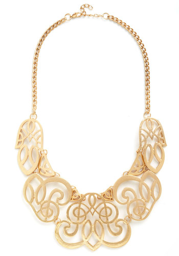 Twice Gold Tales Necklace - Gold, Solid, Statement, Formal, Gold, Top Rated