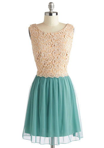 Arboretum Reception Dress - Tan / Cream, Rhinestones, A-line, Sleeveless, Scoop, Mint, Beads, Exposed zipper, Woven, Lace, Prom, Wedding, Party, Twofer, Better