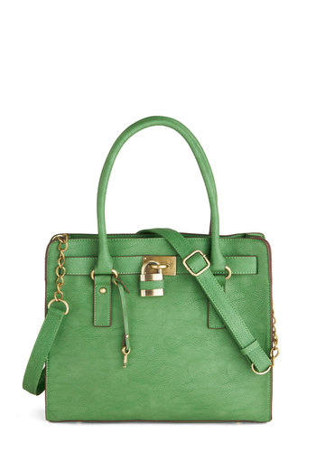"Full Course Load Bag in Green - 14"" by Melie Bianco - Green, Gold, Solid, Studs, Casual, Faux Leather, Work, Variation, Basic, Exclusives"