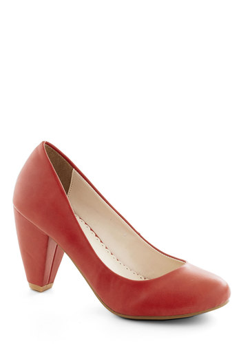 Solid Choice Heel in Red - Red, Solid, Work, Mid, Faux Leather, Basic