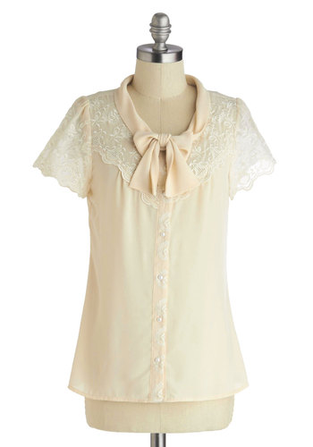 Ladylike Bike Ride Top by Myrtlewood - Sheer, Mid-length, Cream, Solid, Buttons, Lace, Tie Neck, Work, Vintage Inspired, Daytime Party, French / Victorian, Short Sleeves, Exclusives, Private Label, White, Short Sleeve