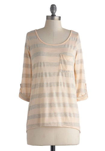 Speak Your Peach Top - Tan, Grey, Stripes, Casual, 3/4 Sleeve, Mid-length, Pockets, Travel, Pastel, Scoop, Orange, 3/4 Sleeve