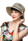 Wake to Fog Hat - Tan, Grey, Solid, Bows, Trim
