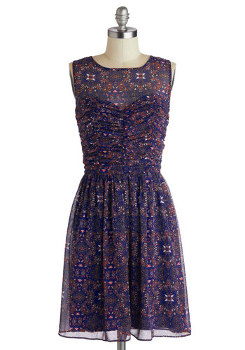 Kaleidoscopes and Dreams Dress - Mid-length, Blue, Multi, Print, Ruching, Party, A-line, Sleeveless, Sheer, Purple