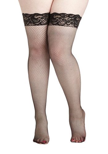 Pin-Up Posing Thigh Highs in Plus Size - Black, Lace, Pinup, Vintage Inspired, Sheer, Knit
