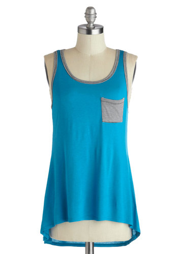 Poolside by Side Top - Mid-length, Blue, Black, White, Solid, Stripes, Casual, High-Low Hem, Scoop, Pockets, Beach/Resort, Tank top (2 thick straps), Summer, Jersey, Knit