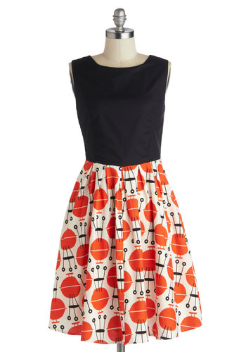 Grill of the Moment Dress by Myrtlewood - Mid-length, Cotton, Orange, Black, White, Novelty Print, Pockets, Casual, A-line, Sleeveless, Daytime Party, Vintage Inspired, 50s, 60s, Summer, Exclusives, Private Label