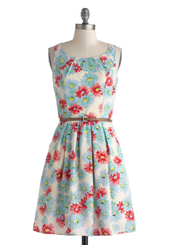 Daisy Afternoon Dress - Mid-length, Red, Yellow, Blue, Floral, Pleats, Belted, Casual, A-line, Sleeveless, Scoop, White, Pockets, Spring, Summer