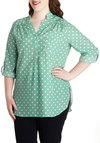 Pam Breeze-ly Tunic in Mint Dots - Plus Size - Mint, White, Polka Dots, Buttons, Pockets, Work, Casual, Button Down, 3/4 Sleeve, Variation, Basic, Exclusives, Tab Sleeve