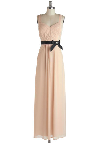 Glamour the Merrier Dress - Pink, Bows, Rhinestones, Sequins, Cocktail, Maxi, Tank top (2 thick straps), Sweetheart, Black, Chiffon, Sheer, Special Occasion, Woven, Party, Press Placement, Wedding, Bridesmaid