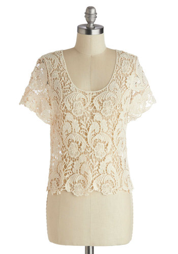Literary Meet and Greet Top - Cream, Crochet, Cropped, Short Sleeves, Solid, Daytime Party, Vintage Inspired, Sheer, Scoop