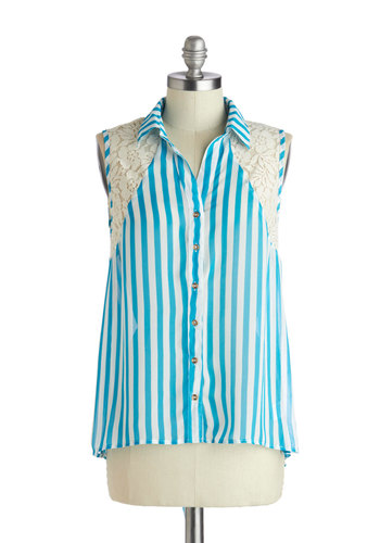 Bake Shop Decorator Top - Sheer, Mid-length, Blue, White, Stripes, Buttons, Lace, Sleeveless, Collared, Casual, Button Down, Summer