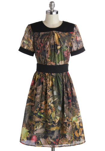 My Forest Choice Dress - Black, Print, Party, A-line, Short Sleeves, Crew, Multi, Fall, Mid-length, Woven