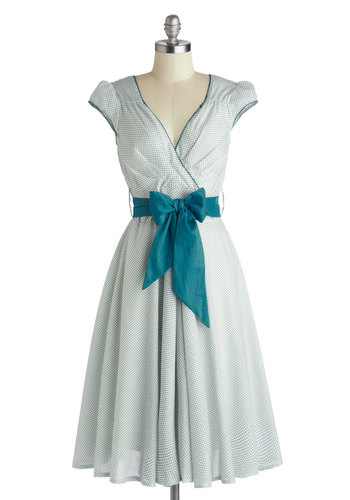 Have the Dance Floor Dress in Teal - Cotton, Blue, Polka Dots, Belted, Casual, A-line, Cap Sleeves, V Neck, White, Daytime Party, Vintage Inspired, 50s, Spring, Summer, Long, Variation