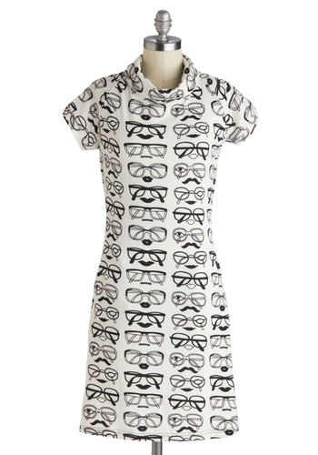 Sight for Four Eyes Dress - Mid-length, Black, Novelty Print, Casual, Shift, Short Sleeves, Pockets, Vintage Inspired, Mod, White, Statement
