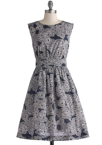 Too Much Fun Dress in Graphic Garden by Emily and Fin - Exclusives, Blue, White, Floral, Pockets, Casual, Sleeveless, Crew, Basic, Novelty Print, Work, Mid-length, Fit & Flare