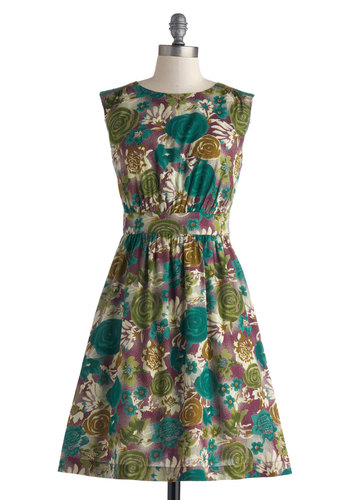Too Much Fun Dress in Dreamscape by Emily and Fin - Exclusives, Cotton, Purple, Floral, Pockets, Casual, A-line, Sleeveless, Green, Work, Daytime Party, Variation, Basic, Mid-length